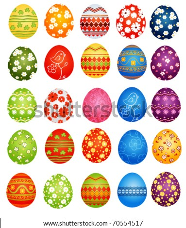 25 decorative Easter eggs on white background - stock vector