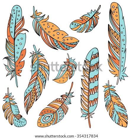 Decorative set of feathers in ethnic style. Hand drawn vector illustration. - stock vector