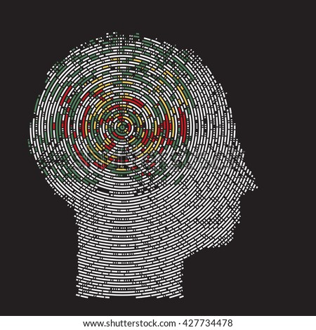 deep thoughts imaging  brain scan - stock vector