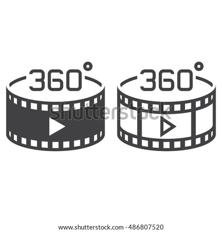 360 degree panoramic video symbol. line icon, outline and solid vector sign, linear and full pictogram isolated on white, logo illustration