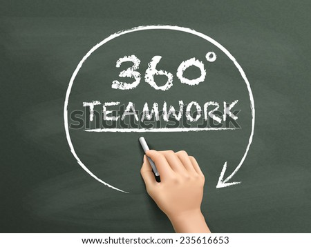 360 degrees teamwork drawn by hand isolated on blackboard