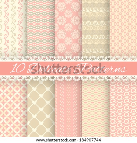 10 Delicate loving wedding vector seamless patterns (tiling). Fond pink, green, white and beige color. Endless texture can be used for printing onto fabric and paper or invitation. Heart, flower, curl - stock vector