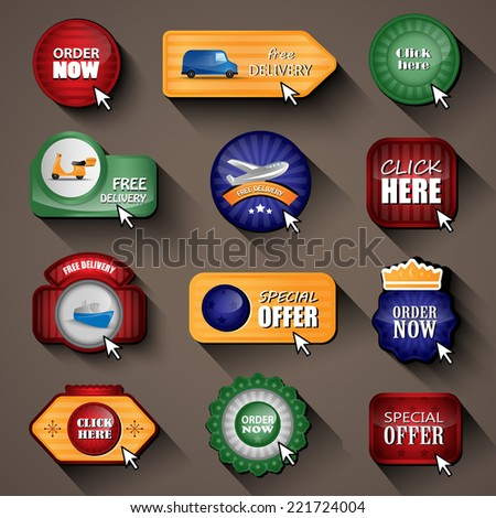 """""""Delivery"""", """"Order"""" And """"Click Here"""" Design Elements, Stickers And Labels In Retro And Vintage Style - Isolated On Background. Vector Illustration, Graphic Design Editable For Your Design  - stock vector"""