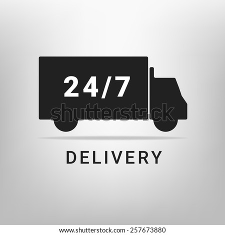 24/7 delivery service concept - stock vector