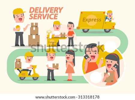 Delivery service - info graphics - Smiling, young man, postal, delivery, girl, man, customers - Vector Illustration - stock vector