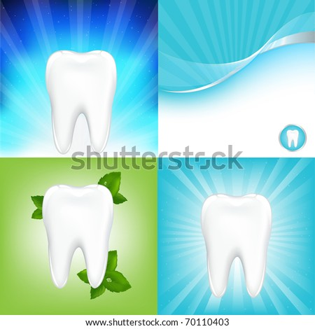 4 Dental Background With Tooth, Vector Illustration - stock vector