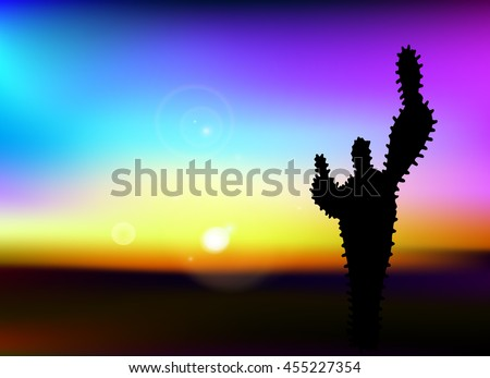 Desert wild nature landscape with cactus and sun, illustration, vector, black silhouette on color background, sunset or sunrise  - stock vector