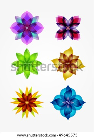 6 design elements (flowers) - stock vector