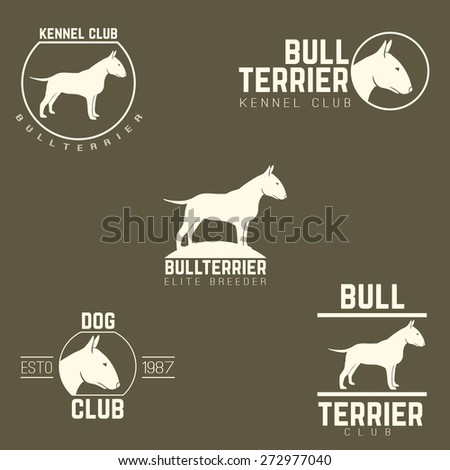 design logotypes, labels set of bill terrier god breed for kennels, breeders, clubs isolated white on dark background. Vector illustration - stock vector