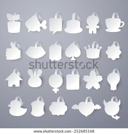 23 design of vector white wobbler on gray background. - stock vector