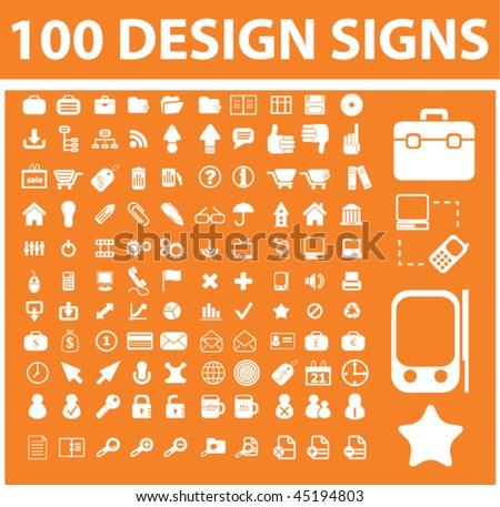 100 design signs. vector