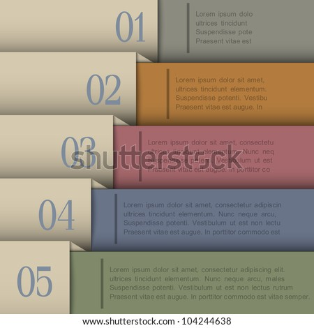 Design template in retro colors.Vector paper numbered banners - stock vector