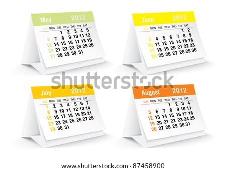2012 desk calendar - vector illustration - stock vector