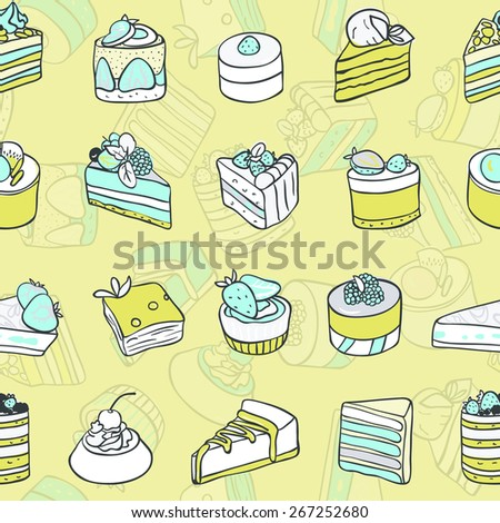 Desserts seamless pattern. Vector pictures of different delicious pastries and cakes. Cartoon image. Pastel color. - stock vector