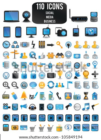100 detailed colorful social media icons - vector illustration - stock vector