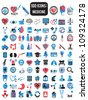 100 detailed icons for medicine - vector illustration - stock vector