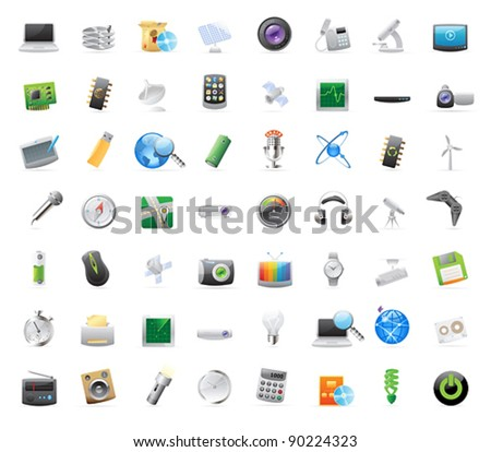 56 detailed vector icons for technology and devices. - stock vector