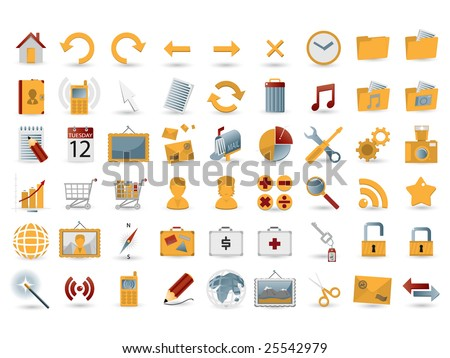 54 detailed web icons - stock vector