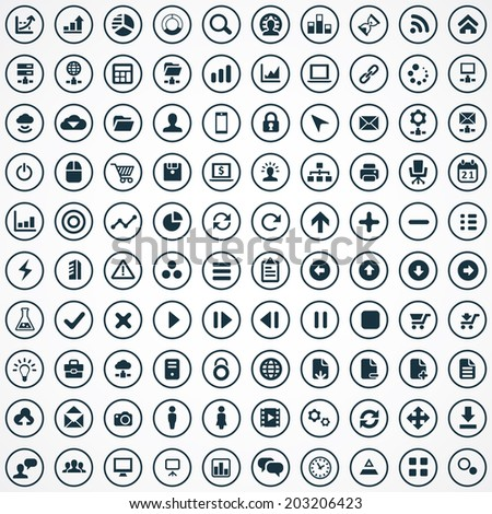 100 development, soft icons set