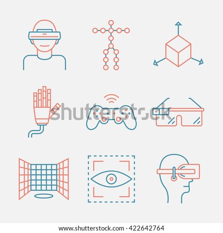 Devices for virtual reality. Immersive multimedia or computer-simulated reality. Glasses and head-mounted display. Linear icons set. Vector illustration. Augmented reality.Virtual reality line icon.  - stock vector