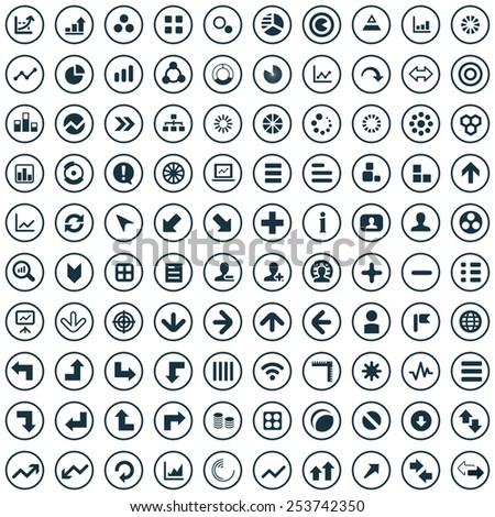 100 diagram icons, universal set