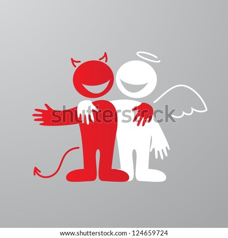 Dialogue - angel and devil. Vector. - stock vector
