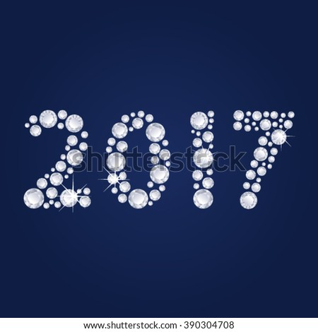 2017 Diamonds numbers with reflection. Happy New Year. Blue vector greeting card. - stock vector