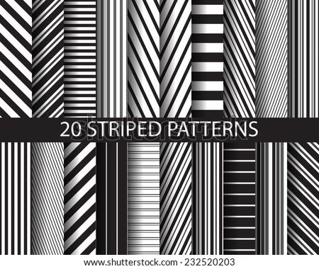 20 different black white stripes seamless stock vector