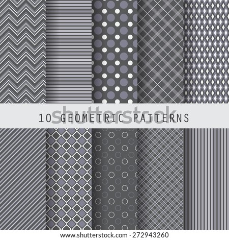10 different black geometric seamless patterns , formal and dark design for business template, Swatches vector Endless texture can be used for wallpaper, pattern fills, web page,background,surface  - stock vector