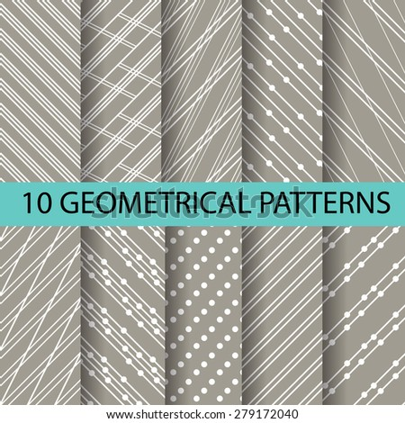 10 different brown patterns , formal and geometric design, Pattern Swatches vector Endless texture can be used for wallpaper, pattern fills, web page,background,surface - stock vector