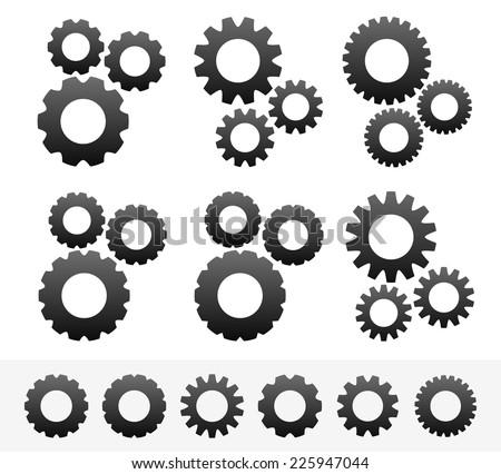 6 different cogwheel composition, 6 different cogwheels. (Pinions, rack wheels, cogs vector) - stock vector