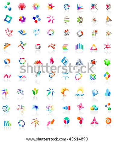 72 different colorful vector icons: (set 1) - stock vector