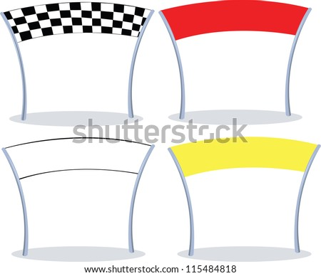 4 different colors of a finish line. 3 with copy space - stock vector