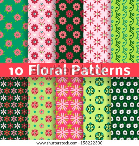 10 Different floral vector seamless patterns (tiling). Romantic colorful texture can be used for printing onto fabric and paper or scrap booking. Bright pink, white and green colors. - stock vector