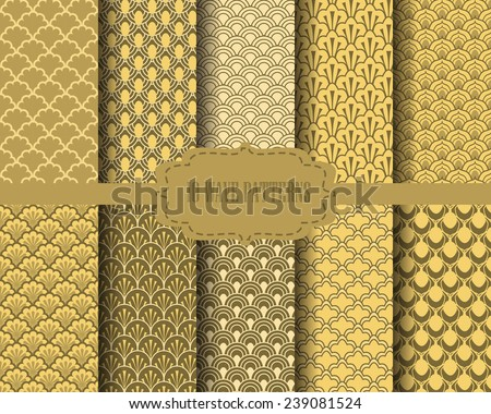 10 different gold wave patterns, Pattern Swatches, vector, Endless texture can be used for wallpaper, pattern fills, web page,background,surface  - stock vector
