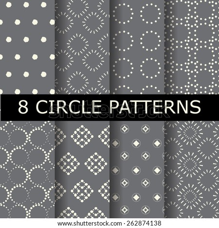 8 different  gray dotted, circle  patterns, vintage and classic style,  Pattern Swatches, vector, Endless texture can be used for wallpaper, pattern fills, web page,background,surface - stock vector