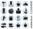 Different icons  with food. Vector of black color. EPS-10 (non transparent elements,non gradient) - stock vector