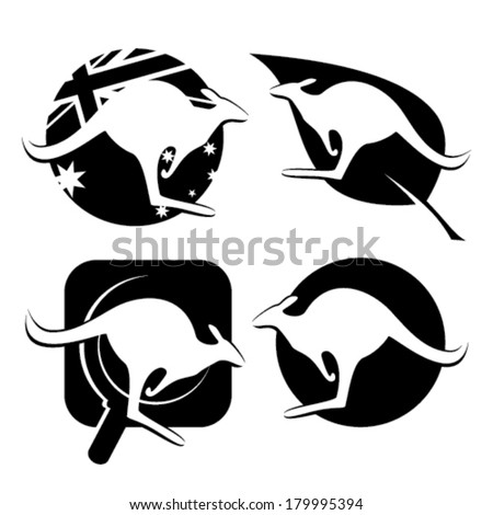 4 different kangaroo icons: kangaroo on the ball with symbols of the Australian flag, kangaroo on leaf, searching kangaroos with magnifying glass and kangaroo on circle - stock vector