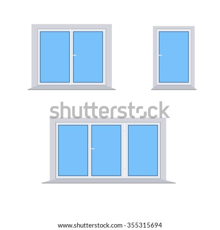 3 different plastic windows on a white background vector - stock vector