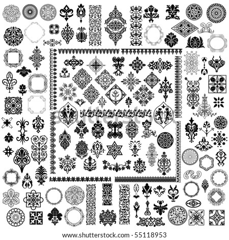100 different retro elements - stock vector