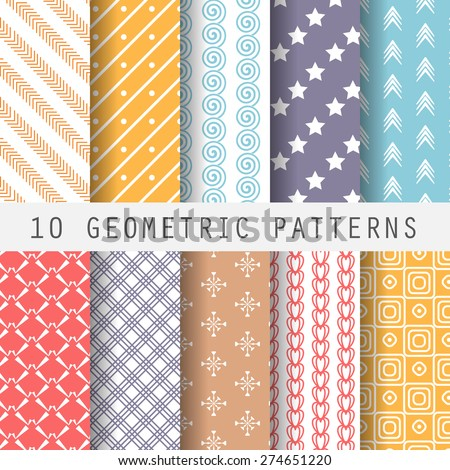 10 different retro seamless patterns. Endless texture for wallpaper, fill, web page background, surface texture. Set of colorful geometric ornament.  shabby pastel. vector illustration.