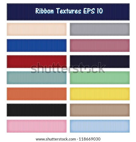 15 Different Ribbon Textures Vector, Grosgrain, easy to edit, EPS10 - stock vector