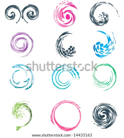 12 different seamless swirl logo wave collection. vector. - stock vector