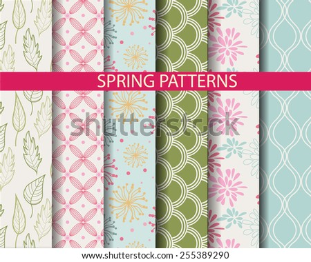 6 different  spring seamless patterns,  Pattern Swatches, vector, Endless texture can be used for wallpaper, pattern fills, web page,background,surface - stock vector