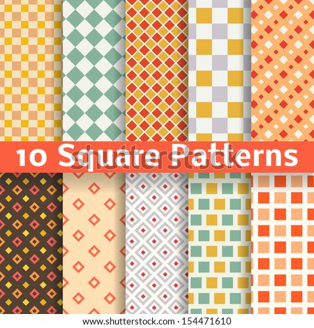 10 Different square vector seamless patterns (tiling). Endless texture can be used for printing onto fabric and paper or scrap booking. Diagonal, checked design wallpaper in retro color. - stock vector