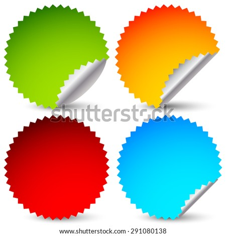 4 different sticker, starburst shape set. 4 colors. - stock vector