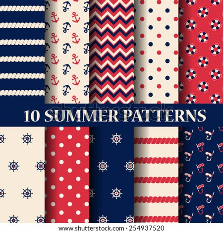 10 different summer seamless patterns, Swatches, vector, Endless texture can be used for wallpaper, pattern fills, web page,background,surface  - stock vector