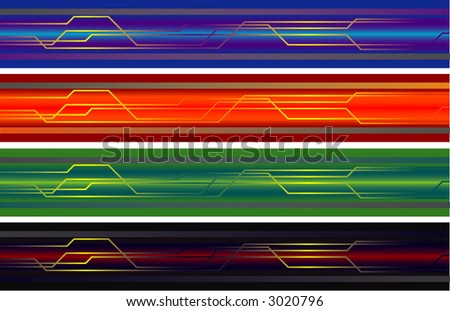 4 different technological banners. ( design elements) - stock vector