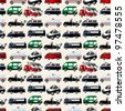 different types car seamless pattern - stock vector