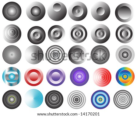 30 different vector button collection